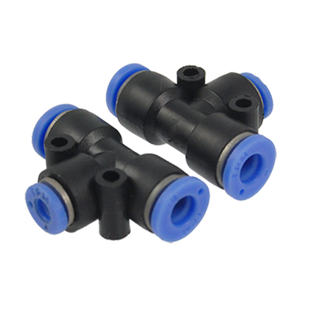 4mm to 6mm One Touch Ends Piping Push In Quick Fittings T Connector 2 Pcs