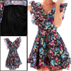 Girls V-Neck Ruffled Cuff Multicolor Floral Printed Fit-and-Flare Dress 12