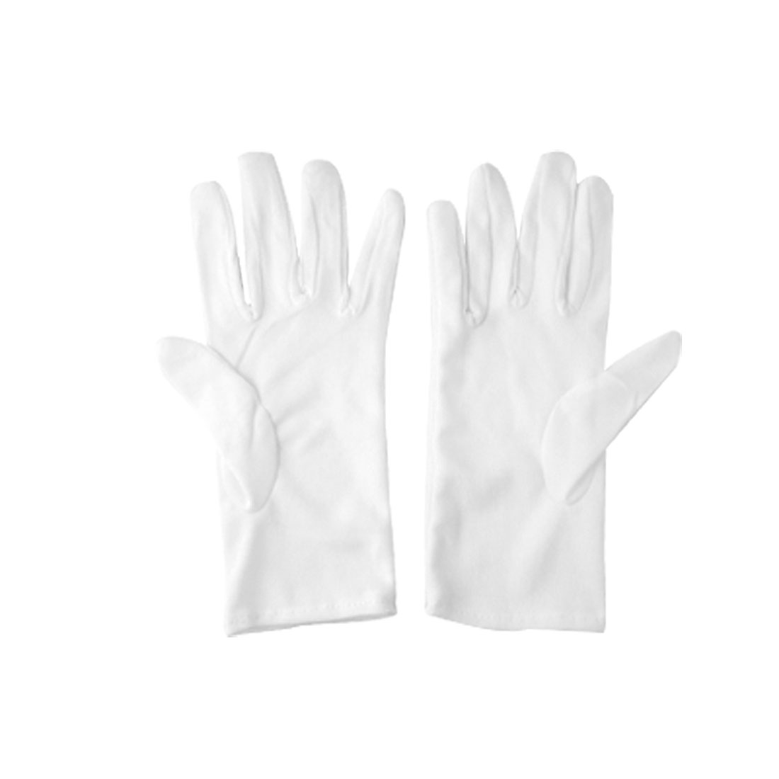 Ladies White Cotton Thin Full Fingers Work Driving Gloves 2 Pairs