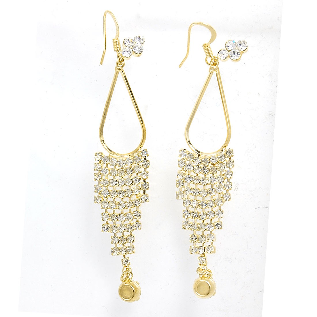 Pair Shiny Rhinestones Embellished Gold Tone Metal Long Chain Ear Hook Earrings