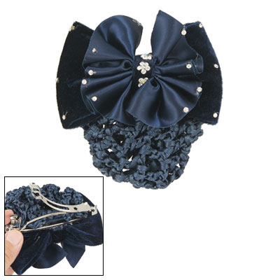 Three Tone Blue Rhinestones Decor Flower Embellished Bowknot Hair Clip w Hairnet