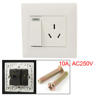 Wall Mounted 3 Pin AU Socket Outlet Switch Plate White