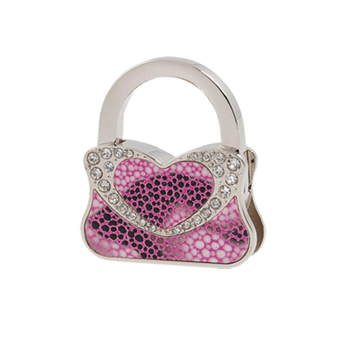 Snake Print Rhienstone Heart Decor Foldable Handbag Hook
