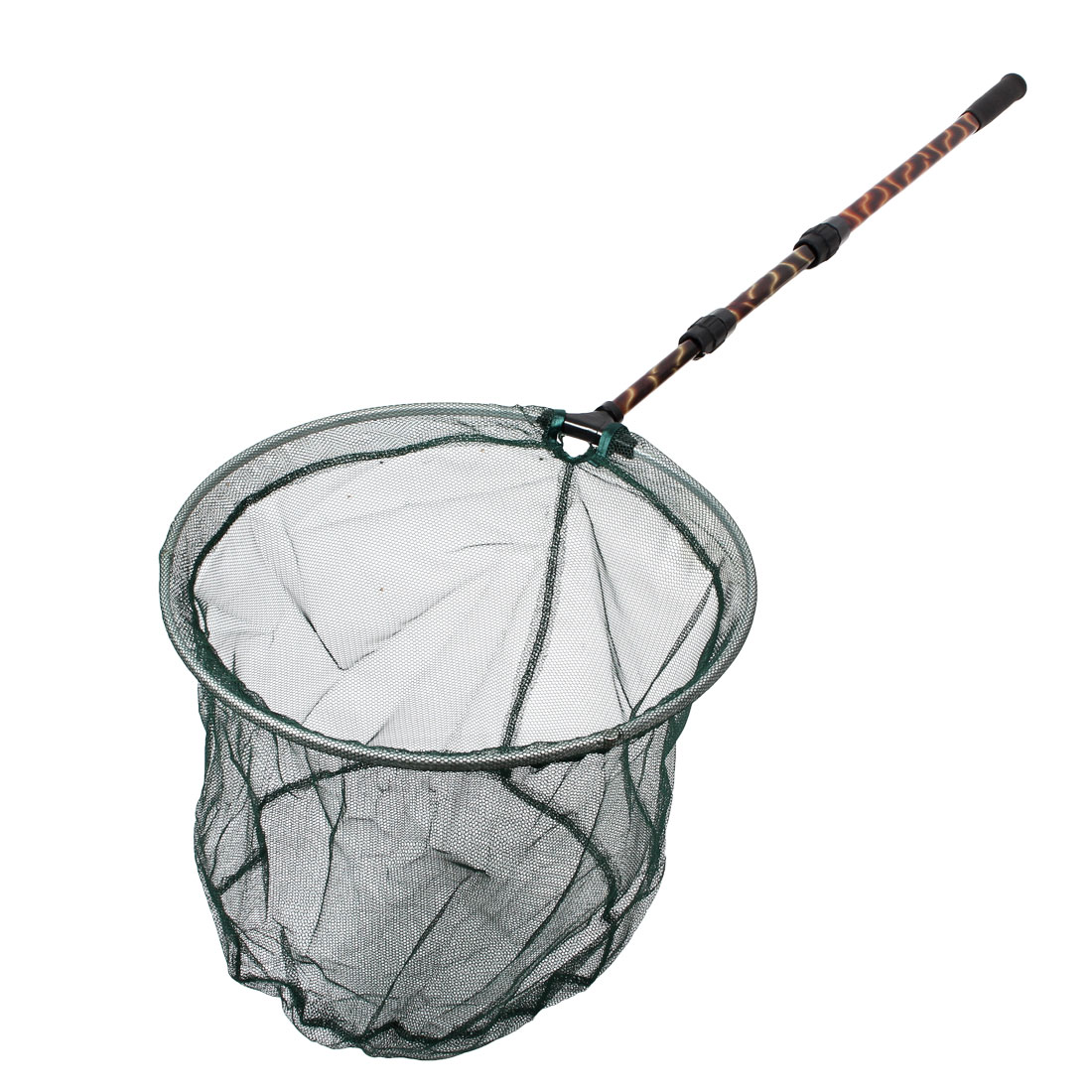 Folding Round Fishing Landing Net w 3 Sections Telescopic Handle