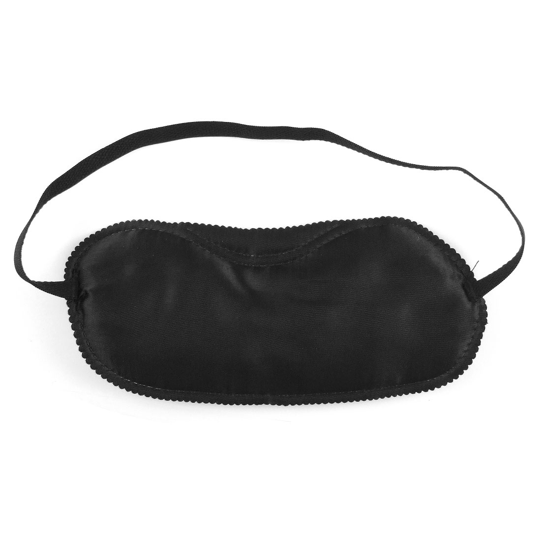 Black Stitched Lettuce Trim Sponge Filled Portable Eye Cover Mask w Elastic Band