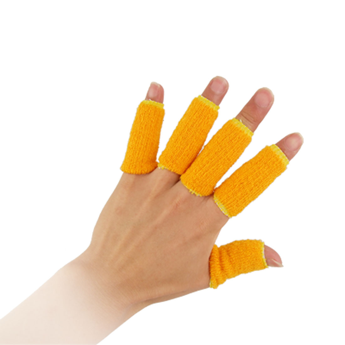 Yellow Volleyball Basketball Sporting Elastic Finger Sleeve Wrap 10 Pcs