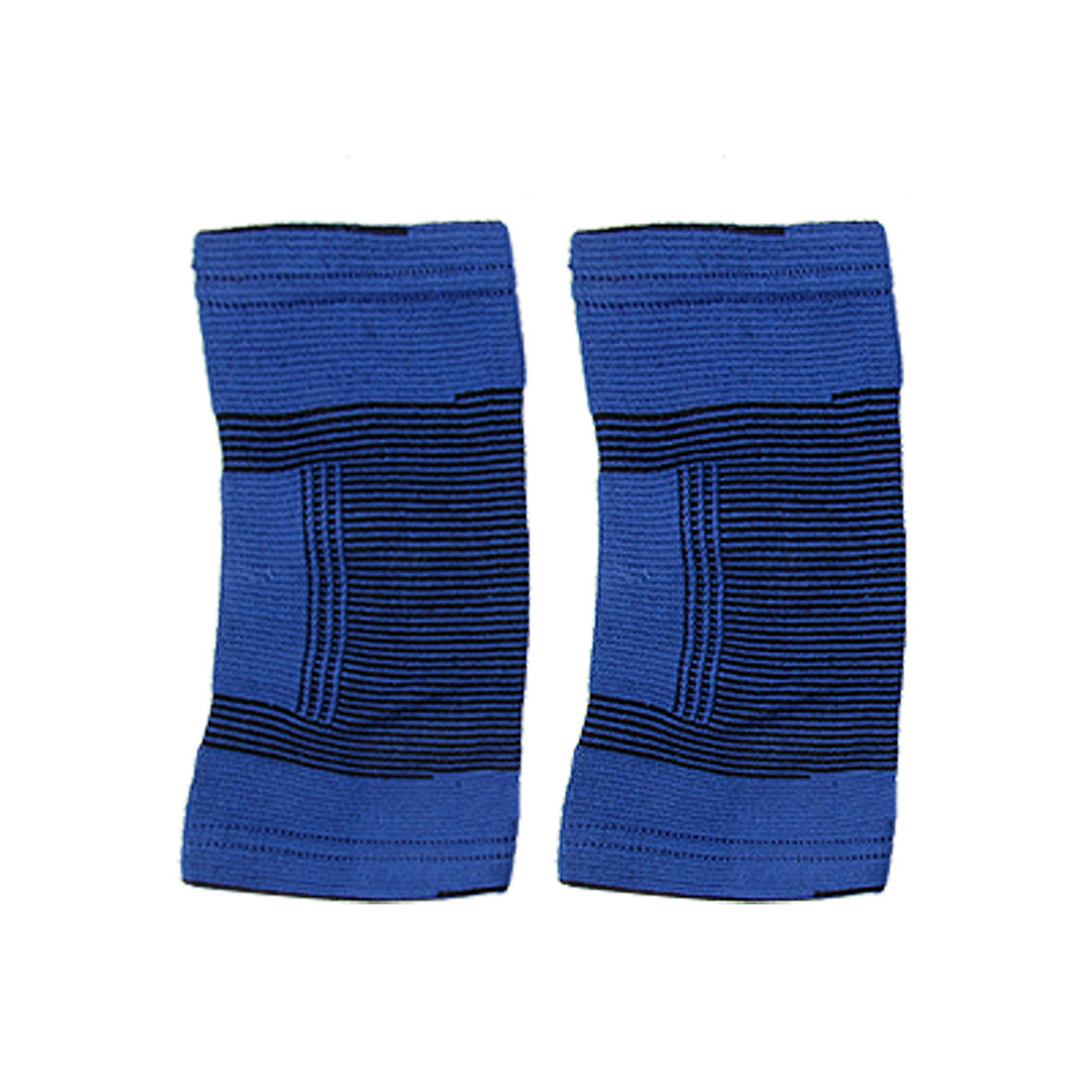 2 Pcs Blue Black Sports Fitness Striped Elastic Elbow Support Protector
