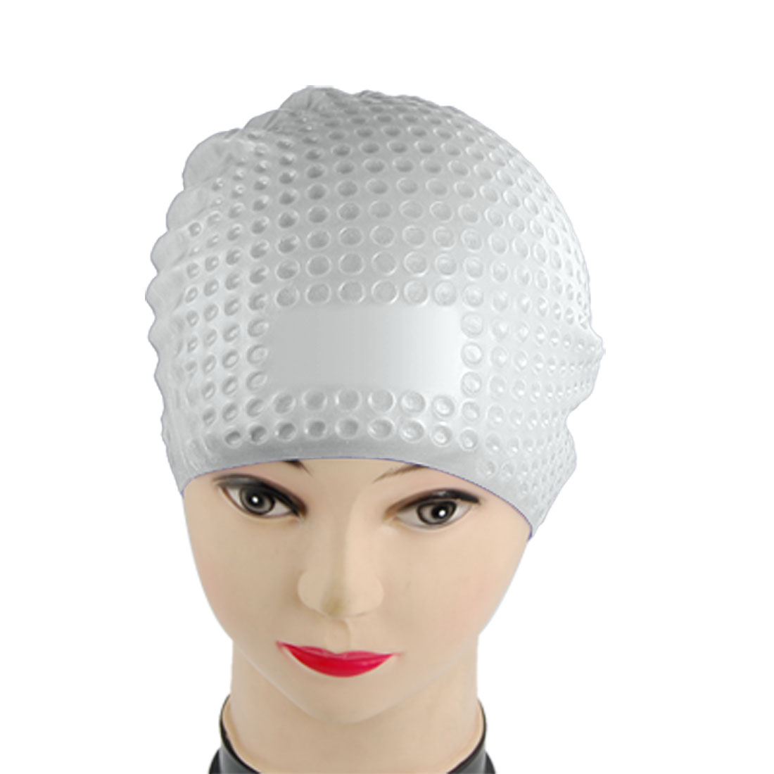 Light Gray Elastic Textured Silicone Swimming Cap for Adult