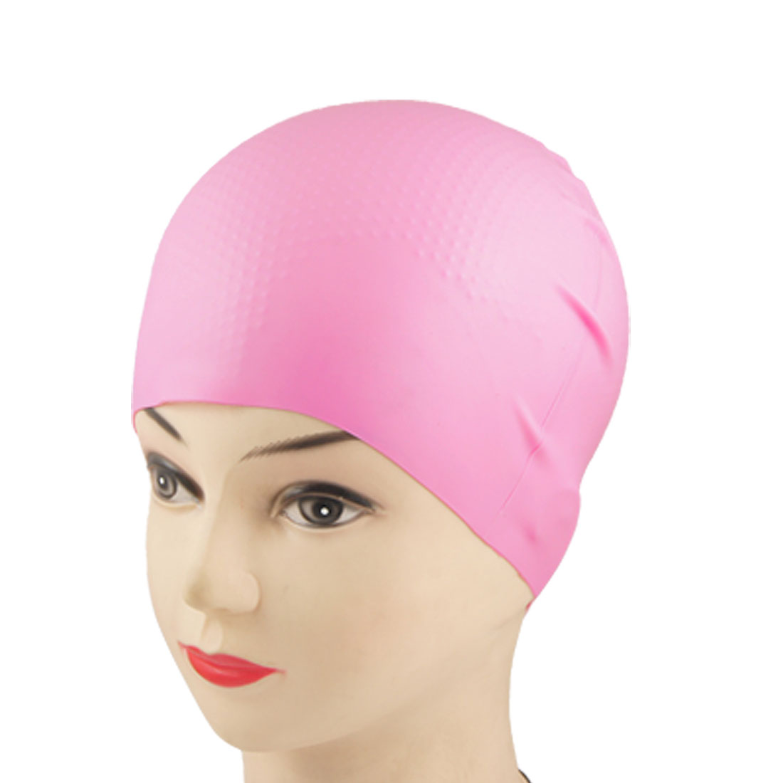 Adult Swimming Sports Inside Grains Soft Silicone Swim Cap Hat Pink