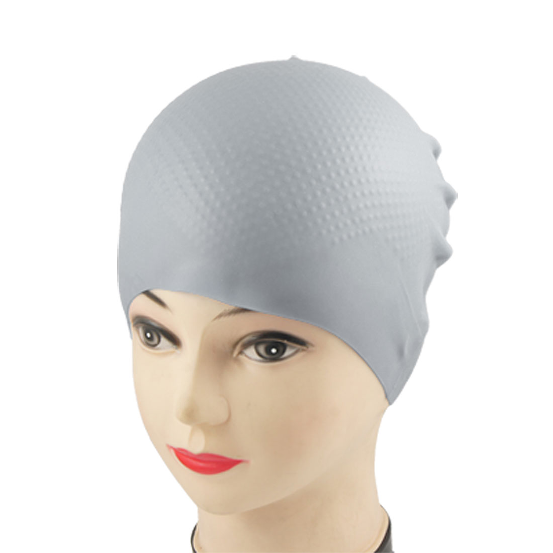 Adult Swimmer Inside Grains Flexible Silicone Swimming Cap Hat Gray