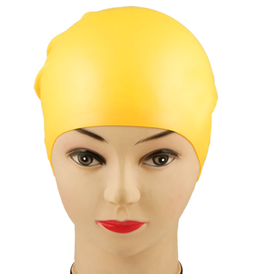 Adult Soft Silicone Dome Shape Flexible Swimming Cap Hat Yellow 21.8 x 19cm