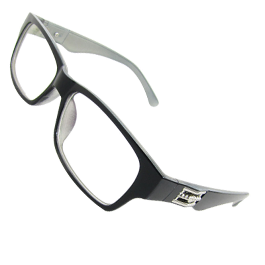 Men Women Black Grey Plastic Frame Arms Clear Multi Coated Lens Glasses