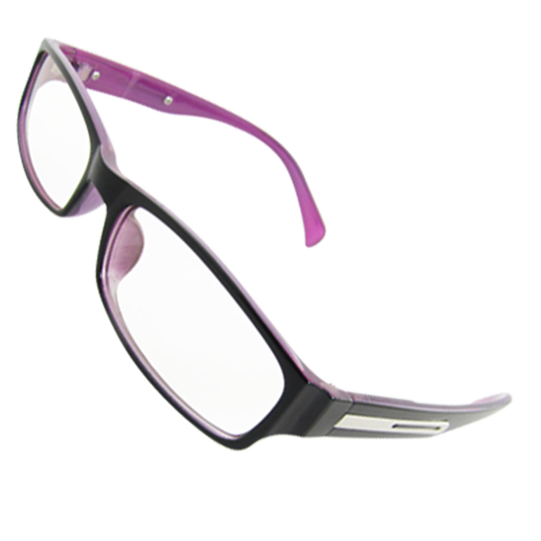 Ladies Black Purple Full Rim Multi Coated Lens Plain Glasses