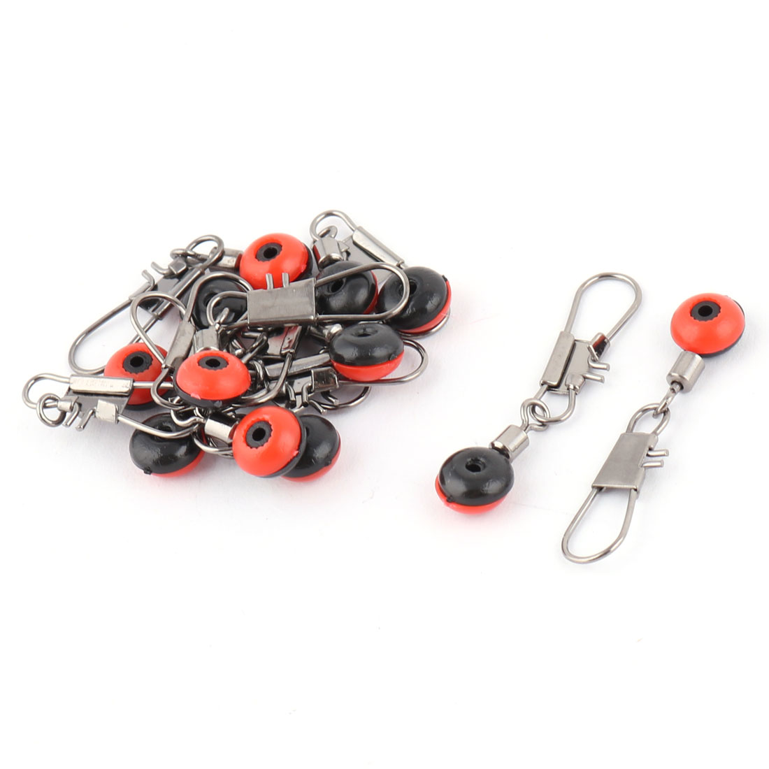 Orange Red Fishing Line to Hook Shank Clip Swivels Connector 10 Pcs