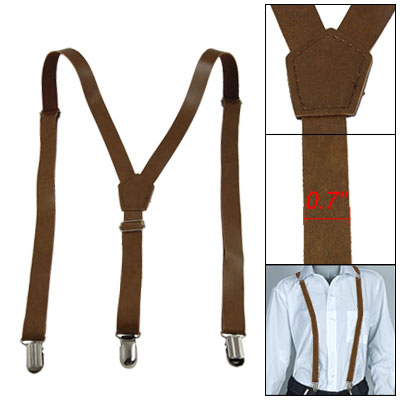 Lady Brown Faux Leather Y Back Adjustable Suspender Braces