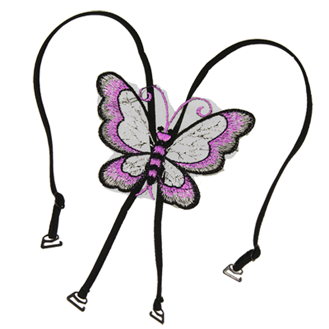 Rose Pink Black Butterfly Embroidery Decor Adjustable Bra Shoulder Strap