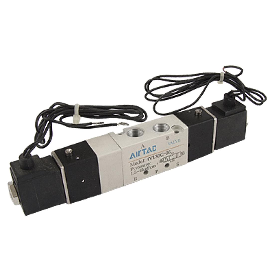 DC 12V PT 1/8 Inlet 3 Position 5 Way 4V130C-06 Solenoid Valve