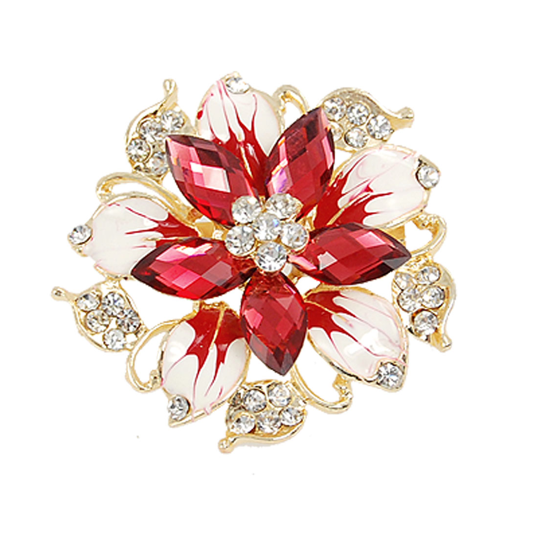 Lady Burgundy Crystal Floral Centre Rhinestone Cluster Brooch