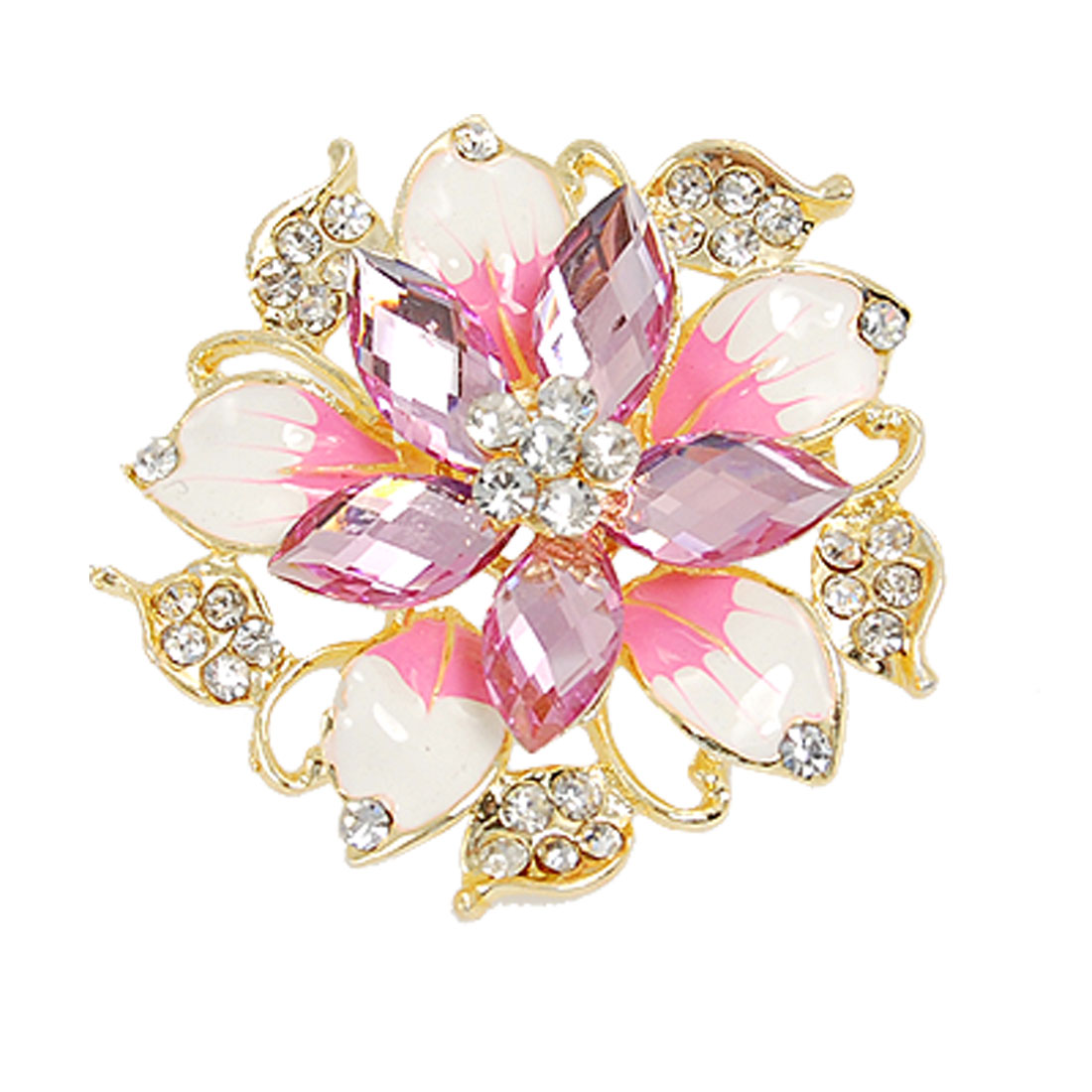Rhinestone Inlaid Safety Pin Brooch Ultra Pink for Ladies