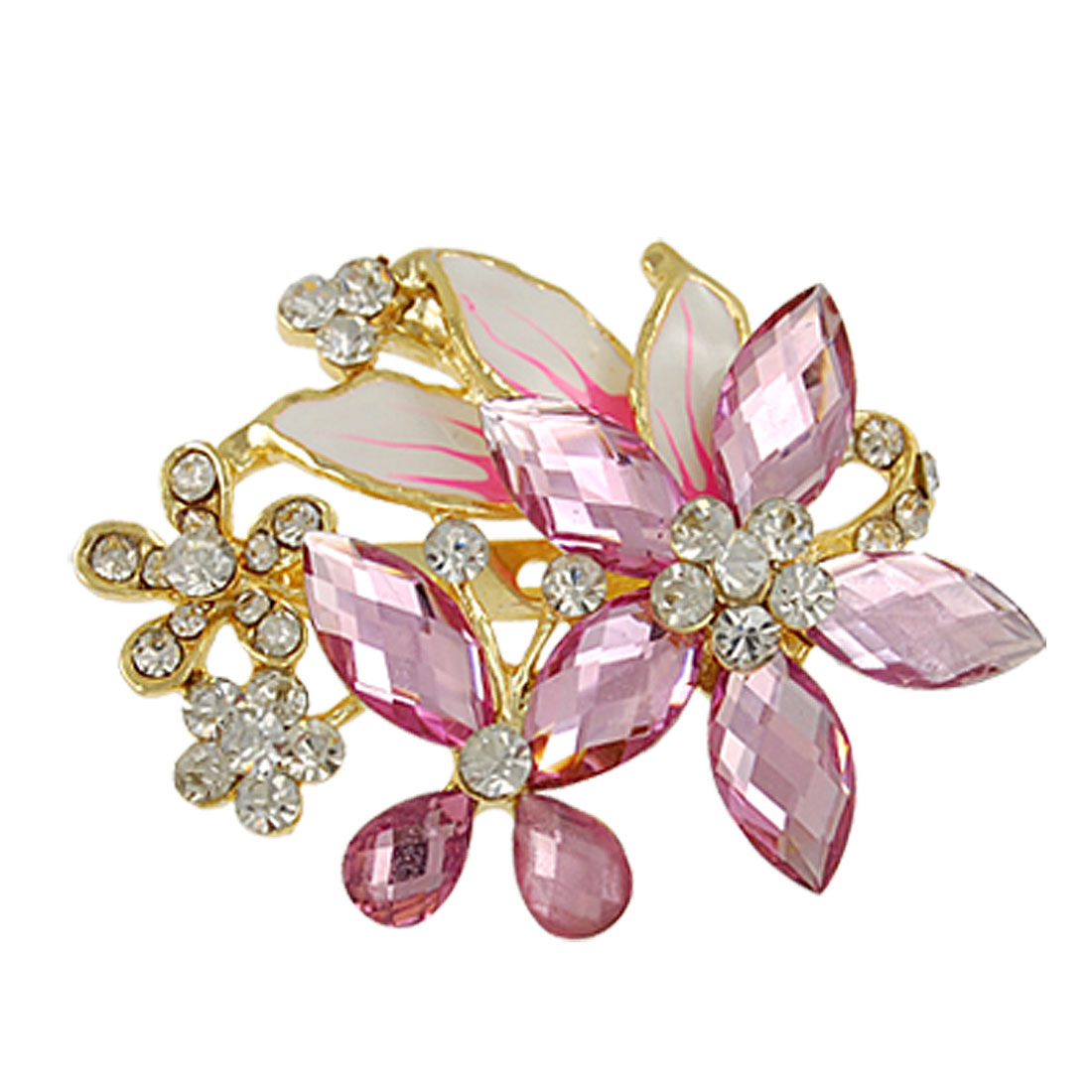 Pink Crystal Floral Rhinestone Inlaid Safety Pin Brooch for Lady