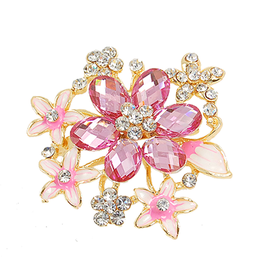 Sparkling Crystal Rhinestone Floral Safety Pin Brooch Pink for Lady