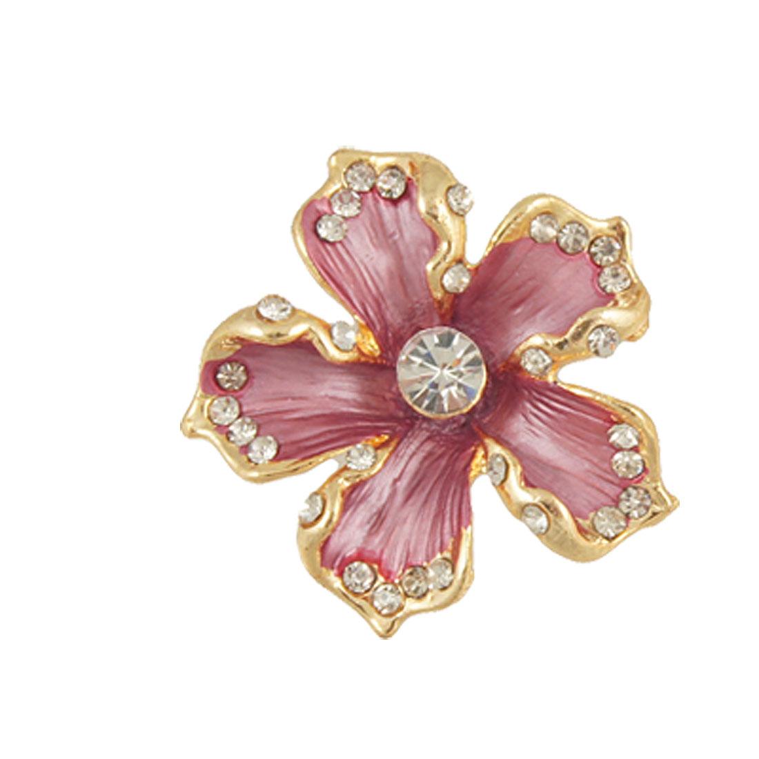 Ladies Apparel Ornament Dark Purple Metal Flower Brooch