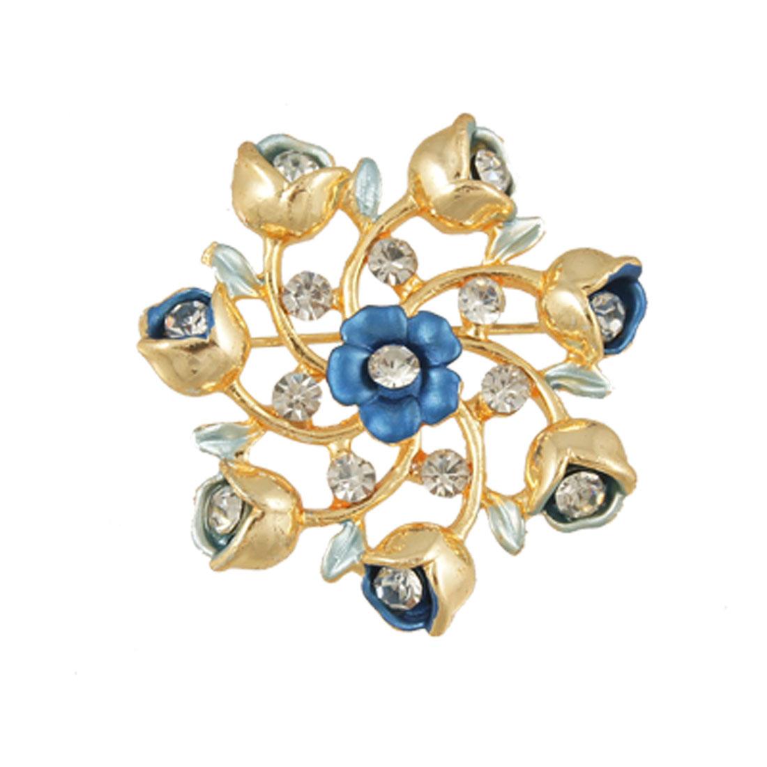 Ladies Rhinestone Detail Gold Tone Blue Flower Pin Brooch
