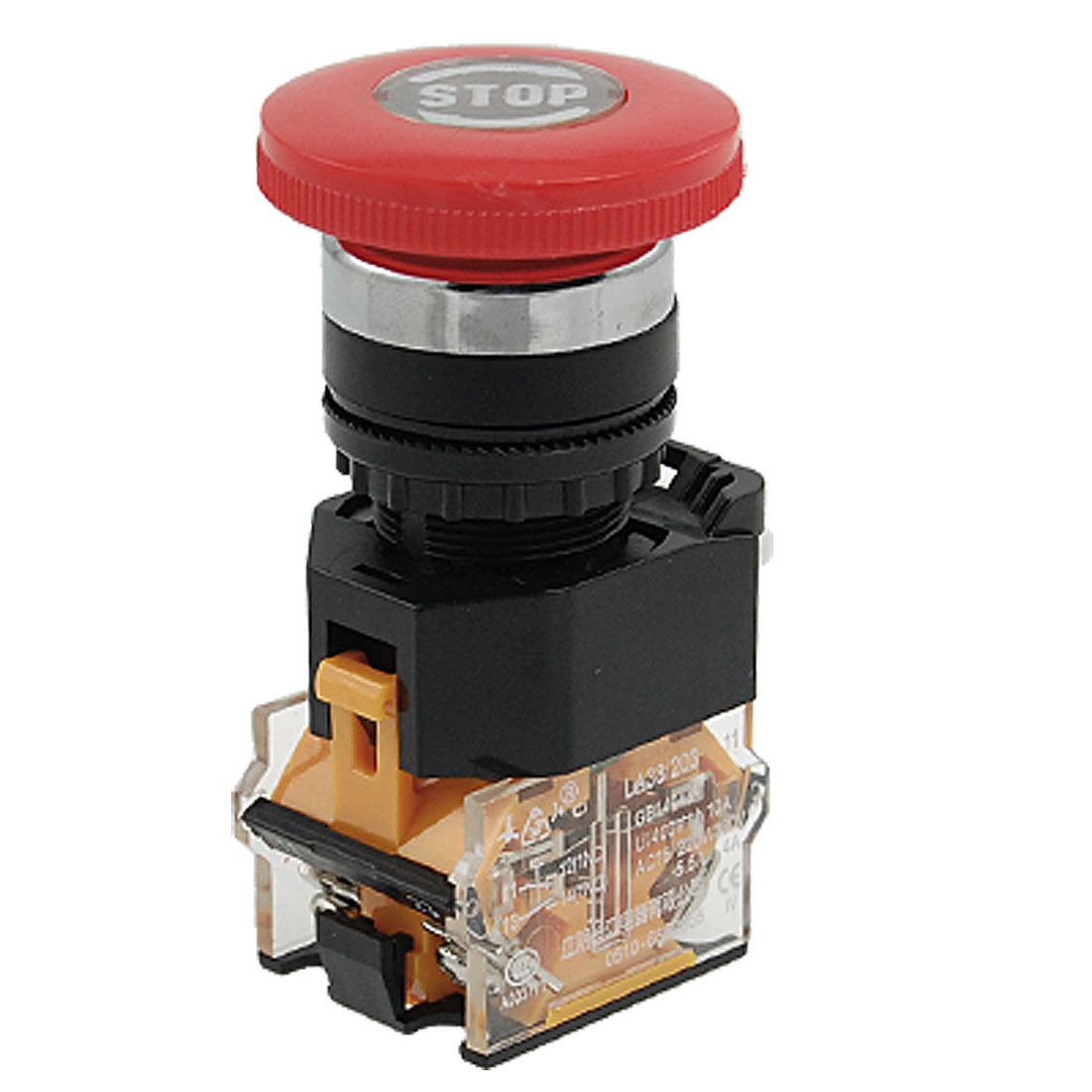 AC 400V 10A Red Sign Mushroom Emergency Stop Push Button Switch 22mm 1 NO 1 NC