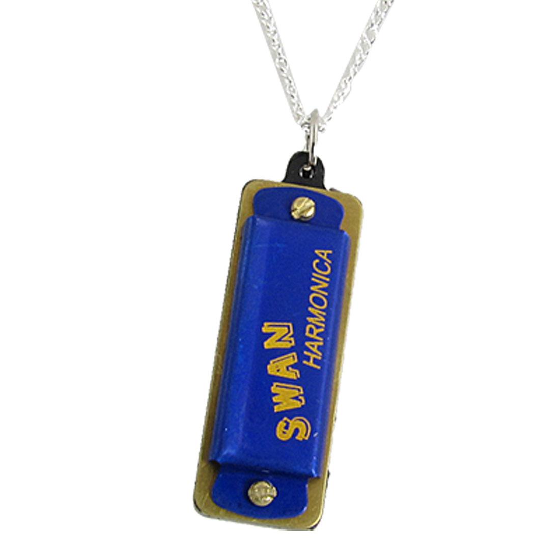 Silver Tone Necklace Mini 4 Holes Indigo Blue Mouth Organ