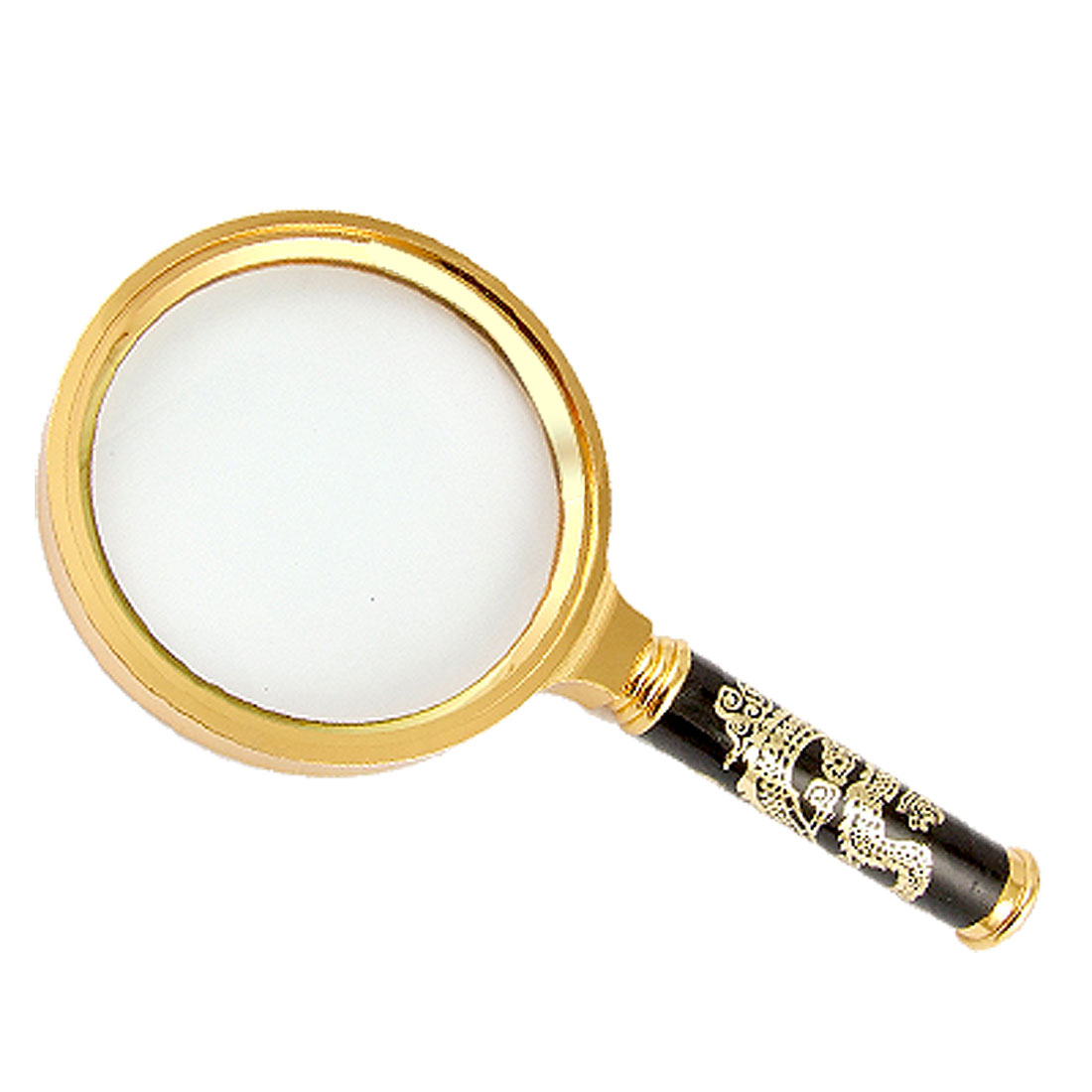 Gold Tone Dragon Pattern Metal Handle Hand Held 5X Magnifying Glass