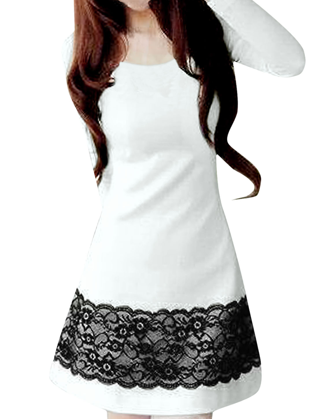 L Black Lace Floral Print Round Neck Autumn Dress White for Lady
