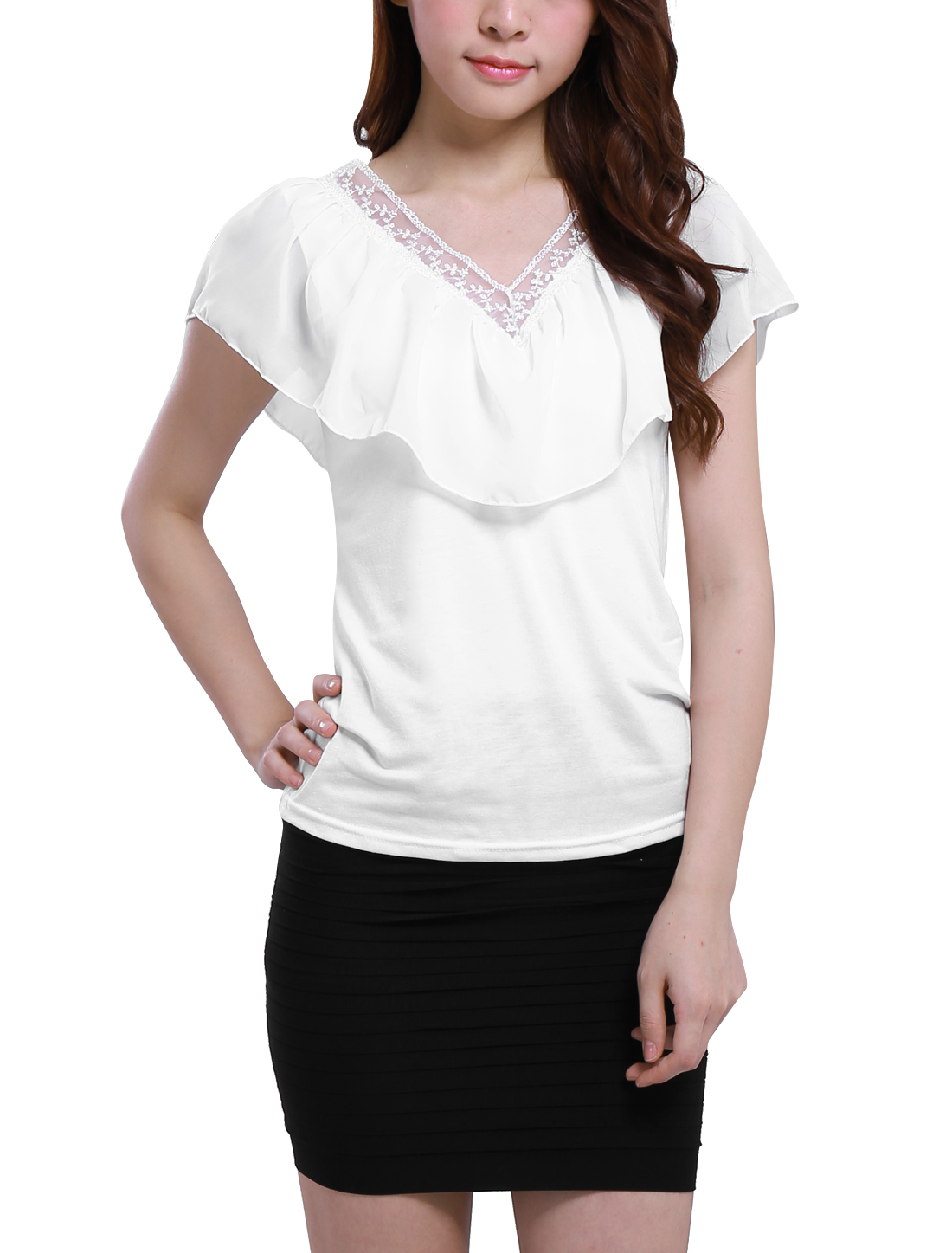 Ladies Chiffon Ruffle V Neck Stretch Embellished Tee Shirt XS