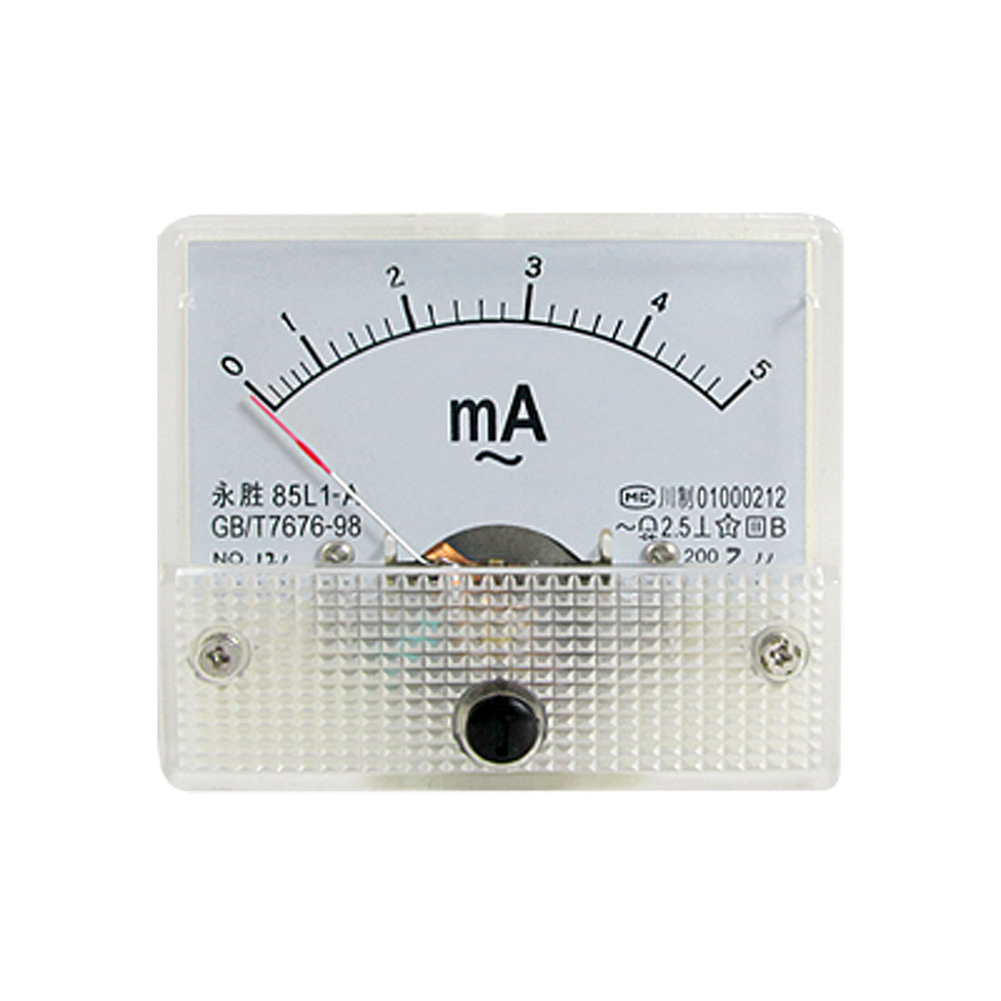 85L1-A AC 0-5mA Rectangle Analog Panel Ammeter Gauge