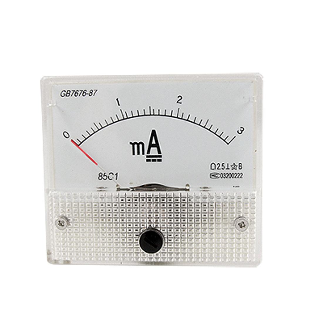 DC 3mA Analog Current Panel Meter Ammeter Gauge 85C1