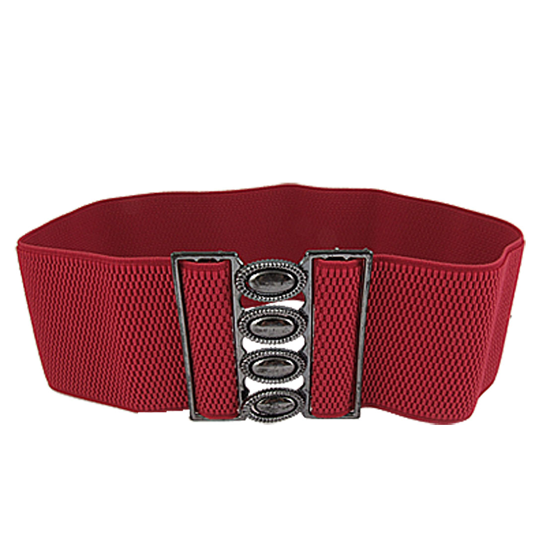 Ladies Oval Shape Cutout Dark Gray Buckle Brick Red Stretch Band Belt