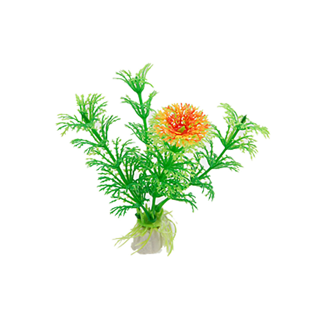 Aquarium 10 Pcs Plastic Orange Red Flower Green Plants Decor