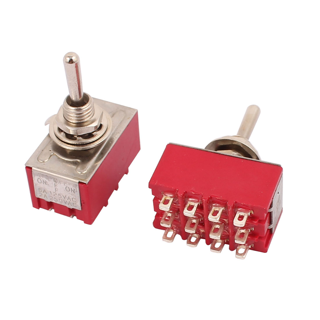 2 Pcs AC 250V 2A 125V 6A 12 Pin 4PDT ON/ON Toggle Switch
