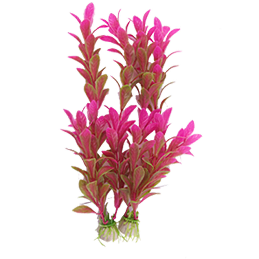 """Aquarium Ornament 9.4"""" High Fuchsia Green Plastic Plant Grass 2 Pcs"""