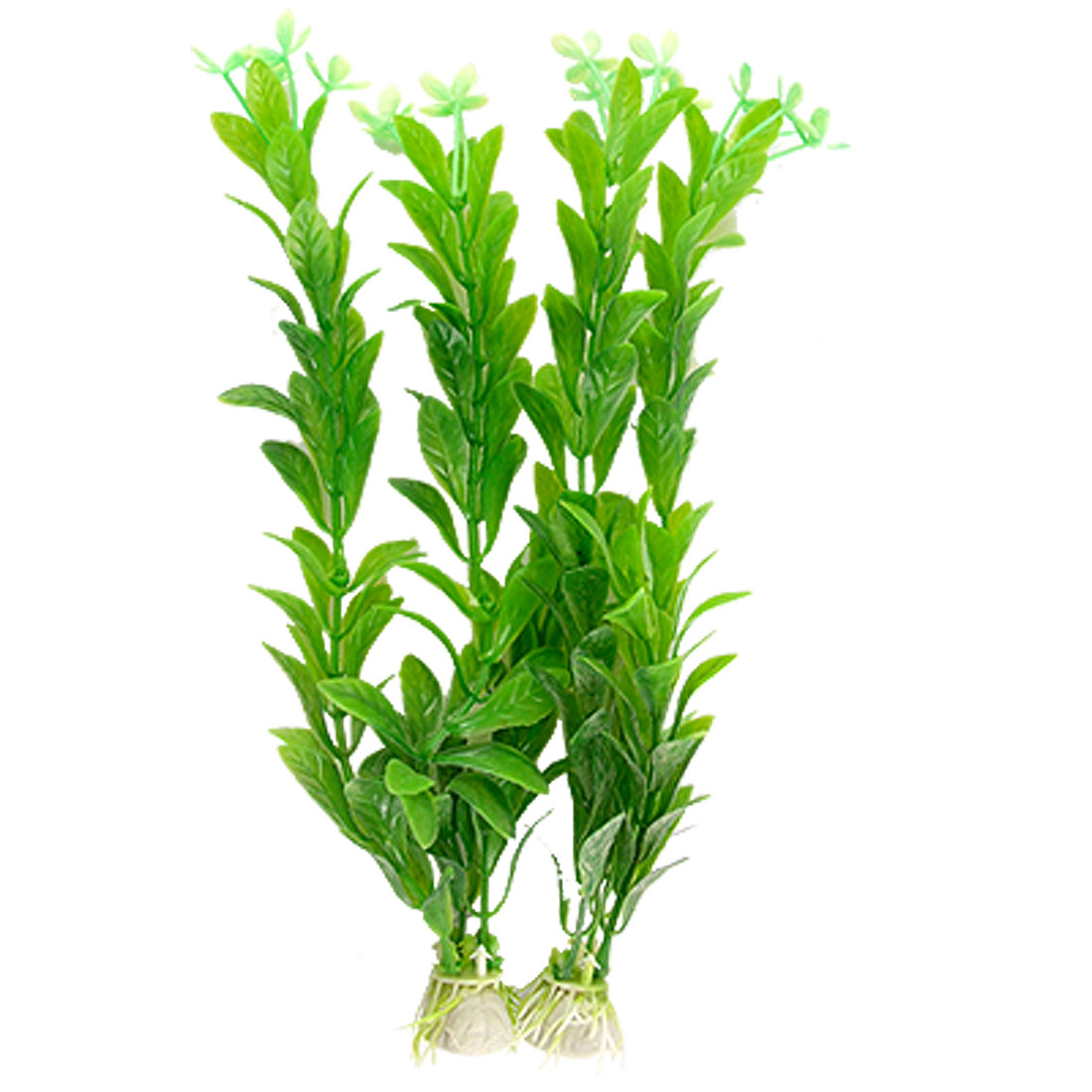 2 Pcs Green Oval Leaf Plastic Plant Aquascaping for Fish Tank