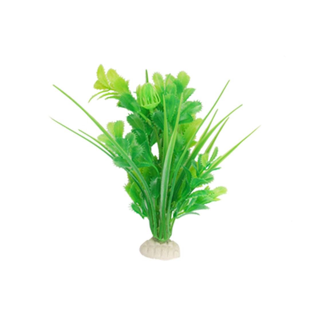 Fish Tank Green Leaf White Flower Plastic Plant Aquascaping