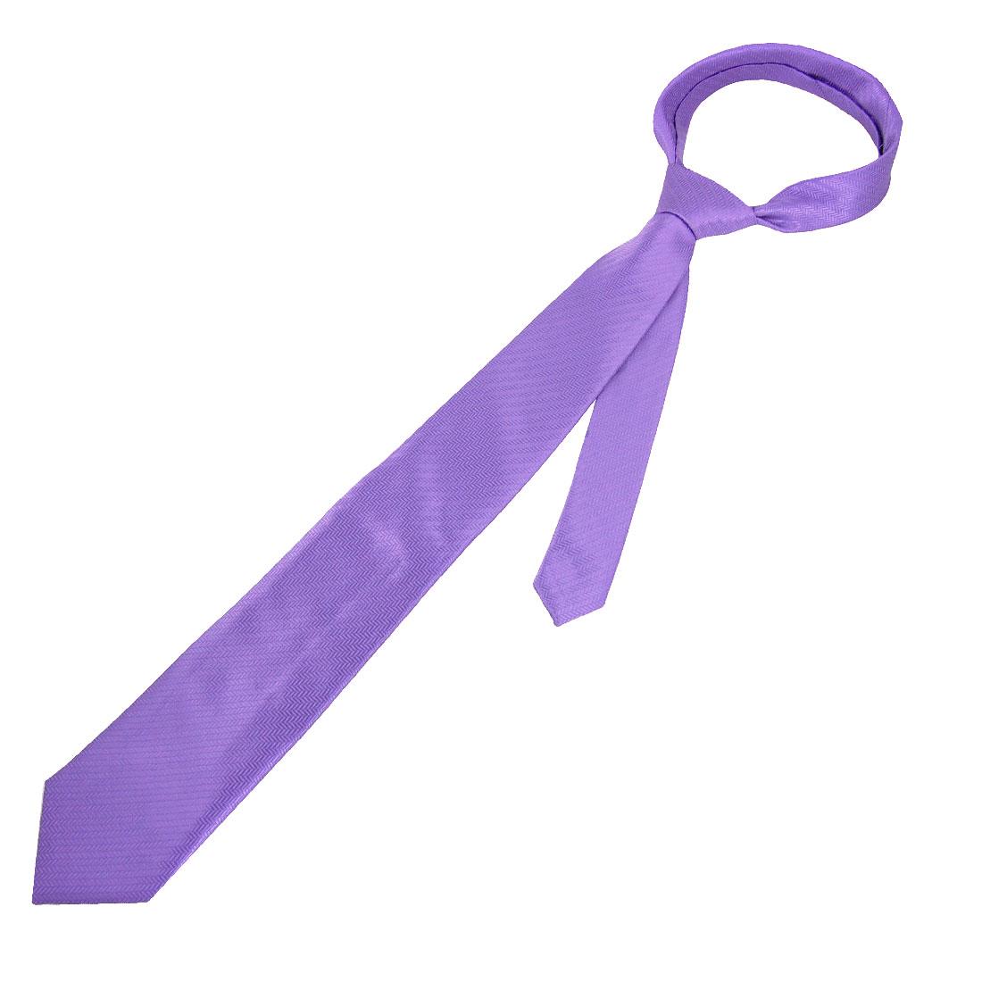"""Men 3.1"""" Width Weave Pattern Purple Self Tie Polyester Necktie"""