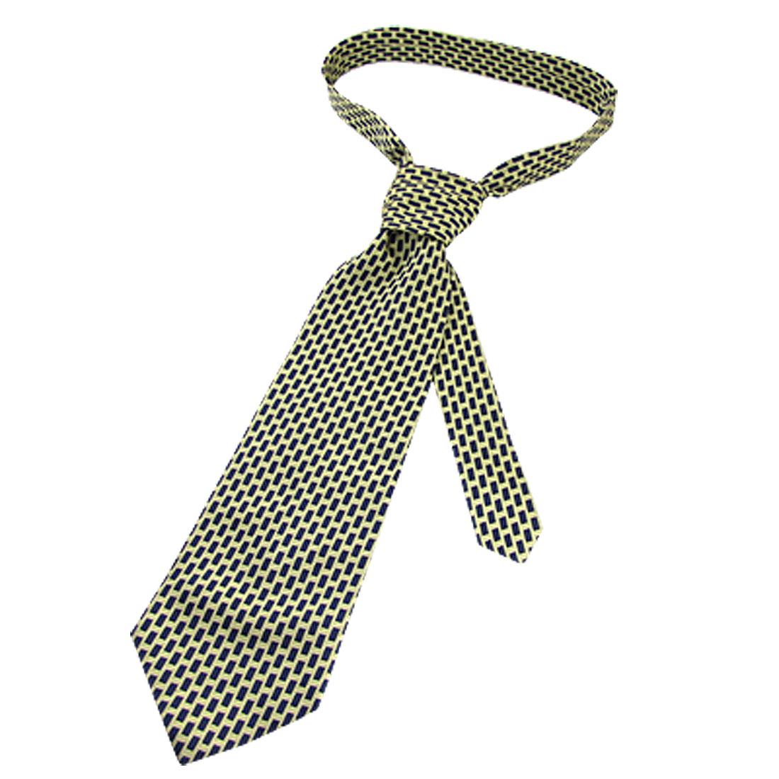 """Man Beige Dark Blue Woven Pattern 4.1"""" Width Arrow Necktie"""