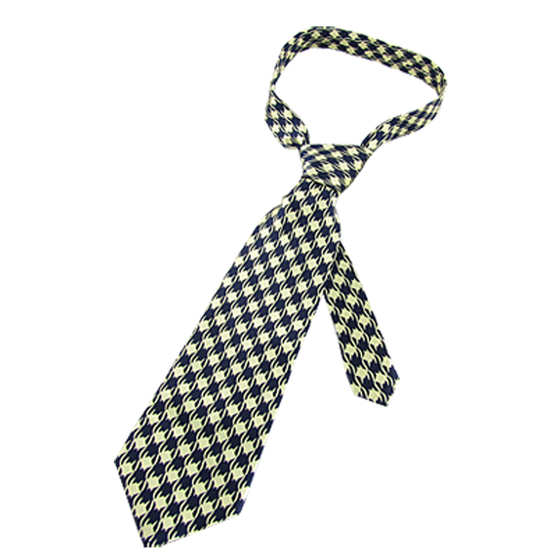 Man Beige Water Wave Pattern Dark Blue Arrow Self Tie Necktie