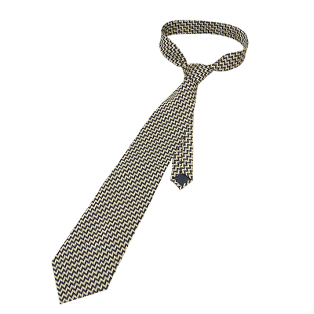 Men Pale Green Zigzag Pattern Dark Blue Self Tie Necktie