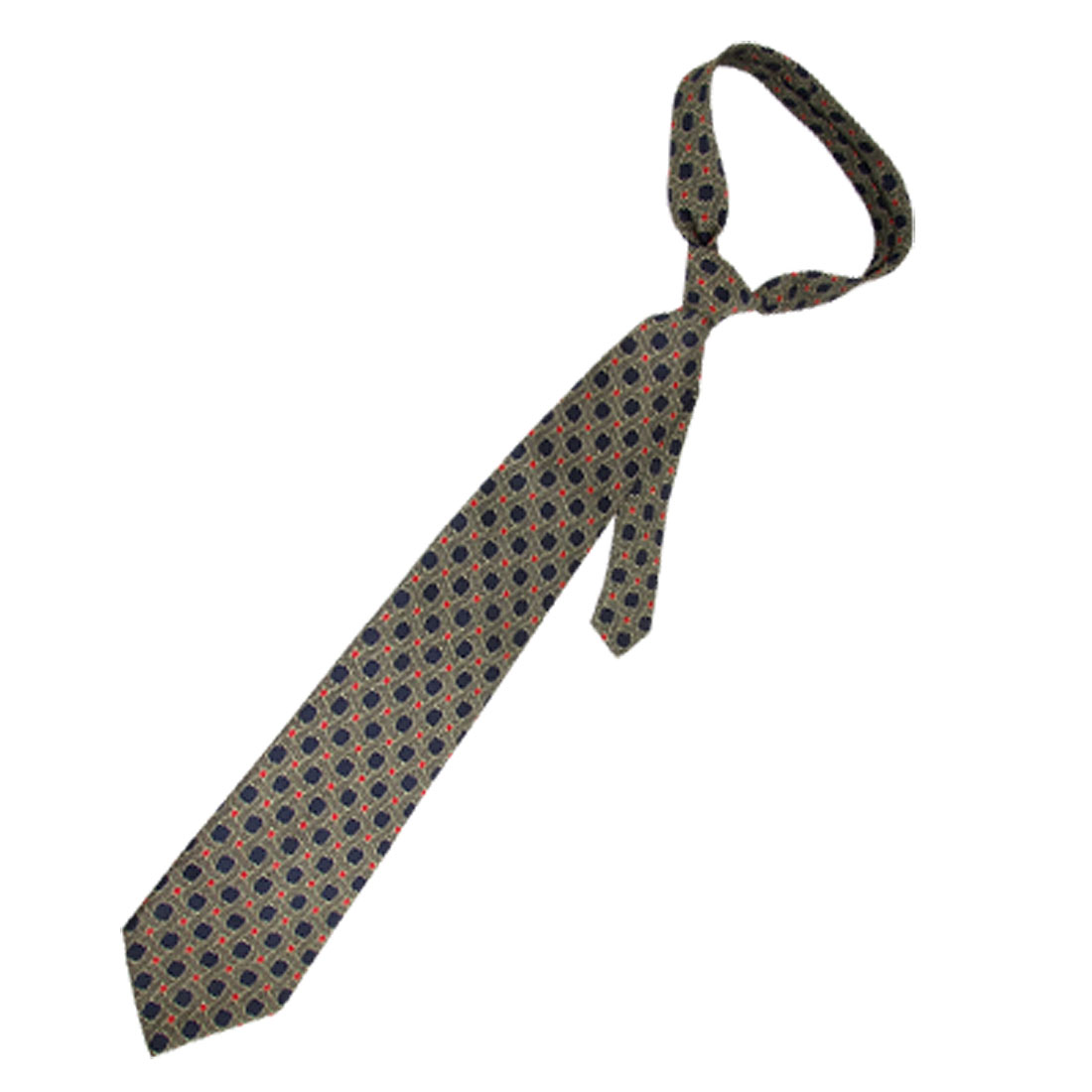 Men Blue Dots Red Square Pattern Olive Green Self Tie Necktie