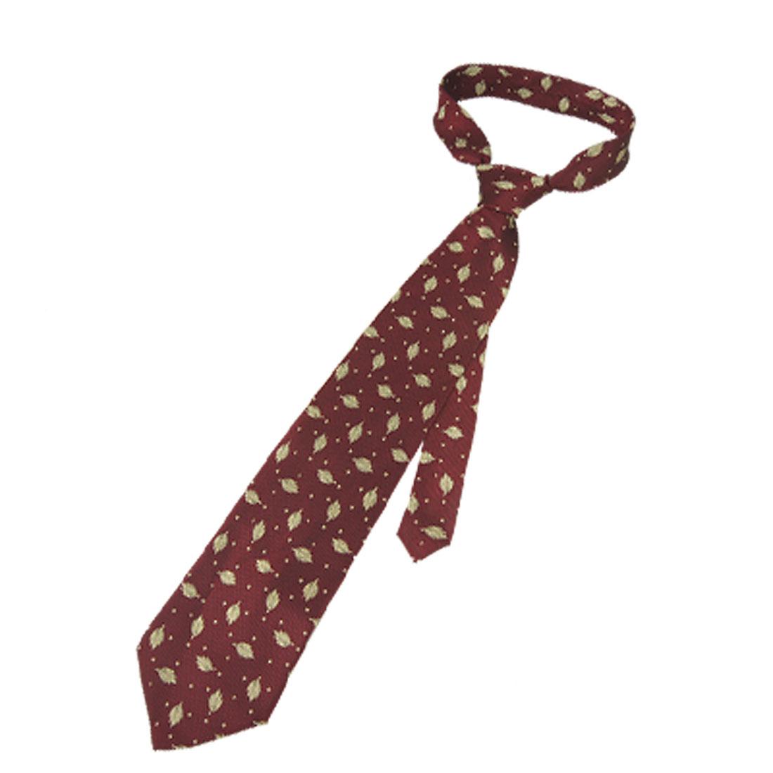 Men Pale Green Leaves Print Dark Red Selt Tie Necktie