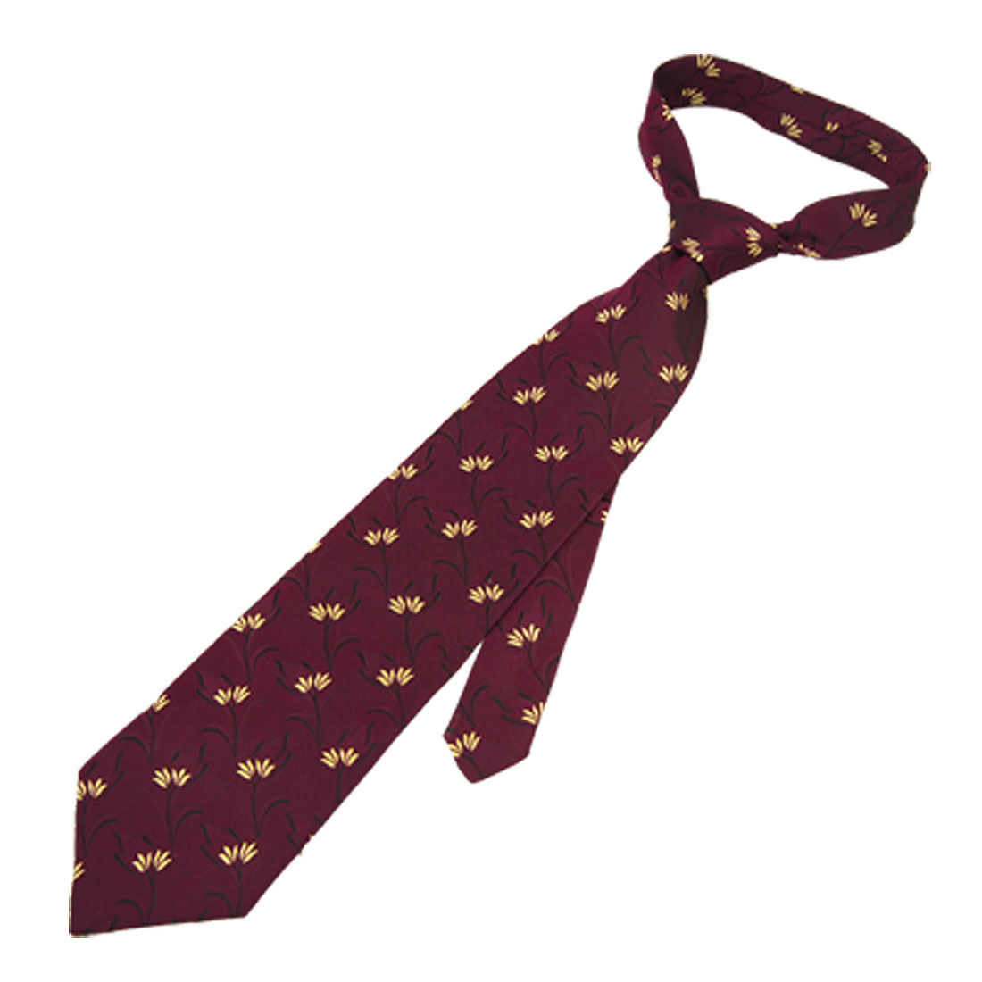 Men Yellow Flower Print Dark Red Polyester Self Tie Necktie