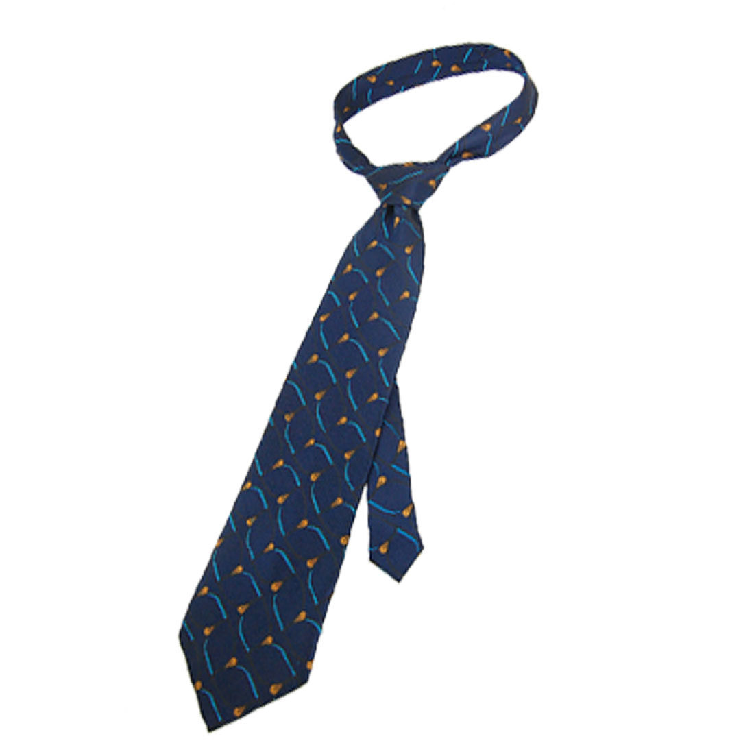 "Man Flower Leaf Pattern 56.7"" Length Self Tie Necktie Navy Blue"