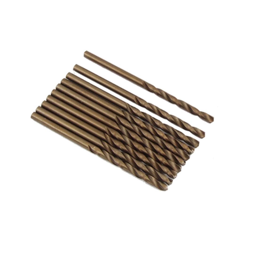 10 Pcs Bronze Tone 3mm Straight Shank Twist Drill Bit