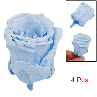 4 Pcs Dry Light Bue Dye Rose Flower Decor Gift